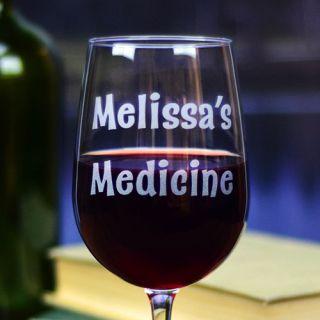 Engraved Prescription Tall Wine Glass