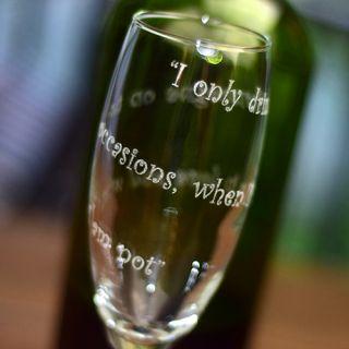 Engraved Bowl Spiral Twisted Stem Champagne Flute